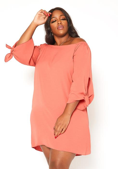Asoph Plus Size Peach Off Shoulder Flare Mini Dress