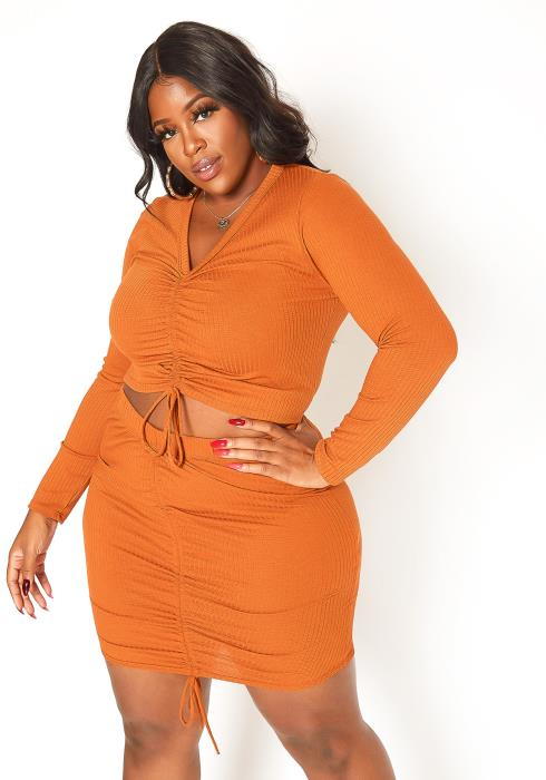 Asoph Plus Size Drawstring Hem Crop Top & Mini Skirt Set