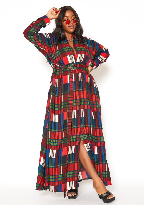 Asoph Plus Size Plaid Button Front Collar Maxi Dress