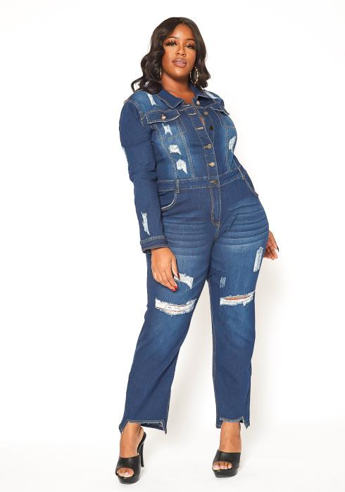 Asoph Plus Size Dark Denim Distressed Collar Jumpsuit