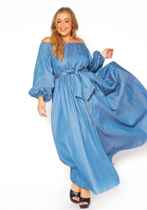 Asoph Plus Size Off Shoulder Faux Denim Maxi Dress