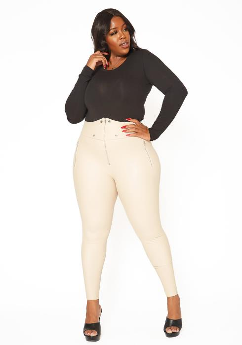 Asoph Plus Size Nude PU Leather Zip Front Leggings