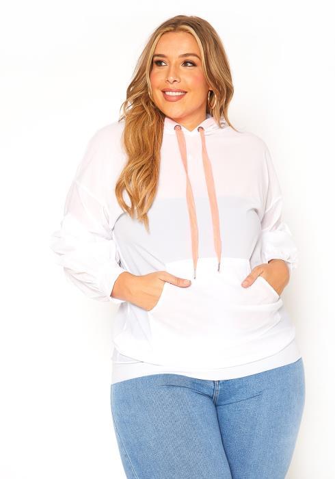 Asoph Plus Size Neon Drawstring Windbreaker Sweater