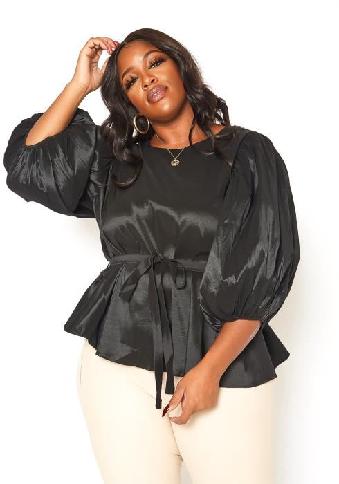 Asoph Plus Size Jet Black Puffy Sleeve Peplum Top