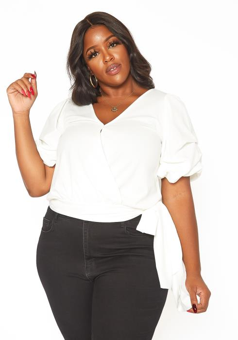 Asoph Plus Size Puffy Sleeve Wrap Blouse Top