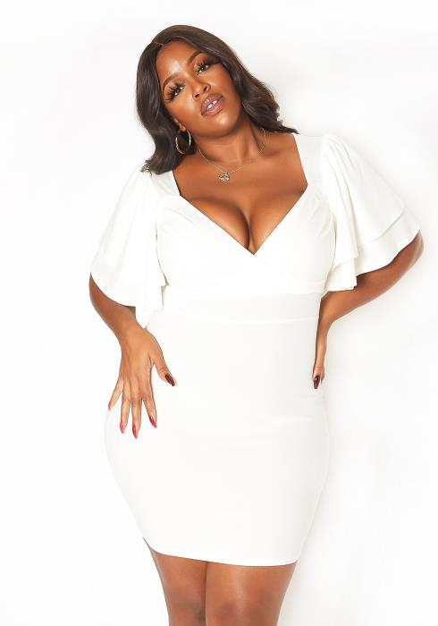 Asoph Plus Size Sweetheart Neck Party Mini Dress