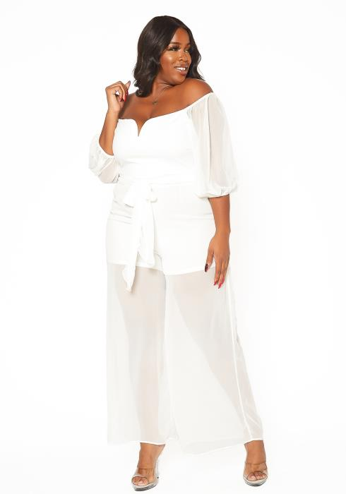 Asoph Plus Size Off Shoulder Chiffon Leg Jumpsuit