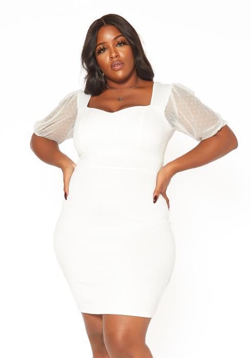 Asoph Plus Size Sweetheart Neck Bodycon Mini Dress