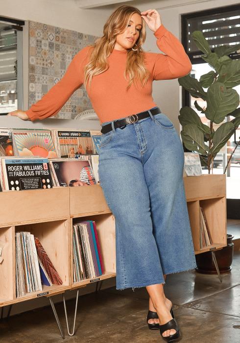 Vibrant Plus Size Straight Cropped Denim Jeans