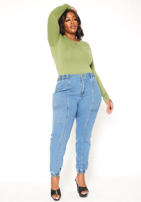 Asoph Plus Size Light Denim Cargo Jeans