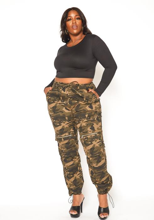 Asoph Plus Size Camo Print Cargo Pants