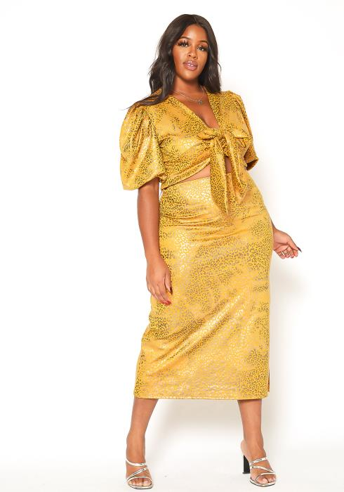 Asoph Plus Size Metallic Leopard Print Crop Top & Midi Skirt Set