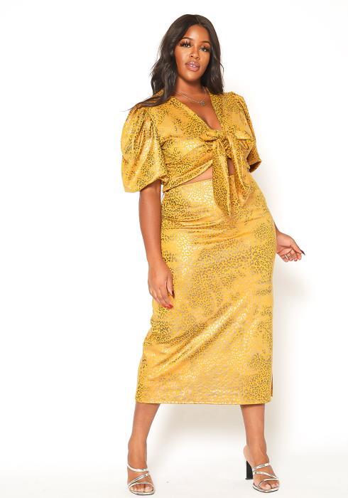 Asoph Plus Size Metallic Leopard Print Crop Top & Midi Skirt Set