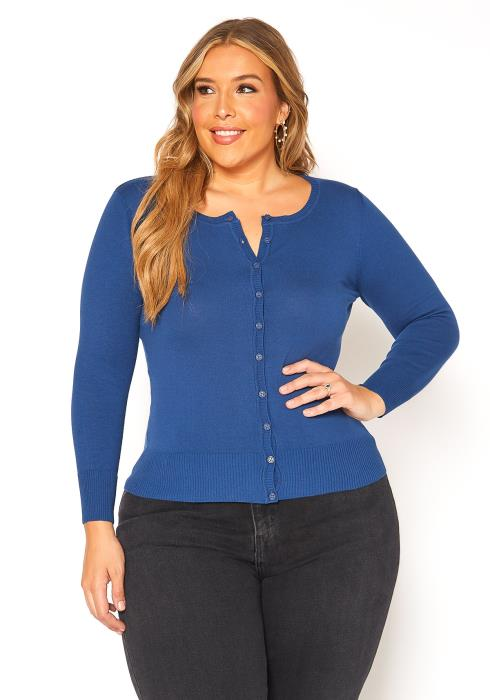 Asoph Plus Size Button Up Basic Cardigan