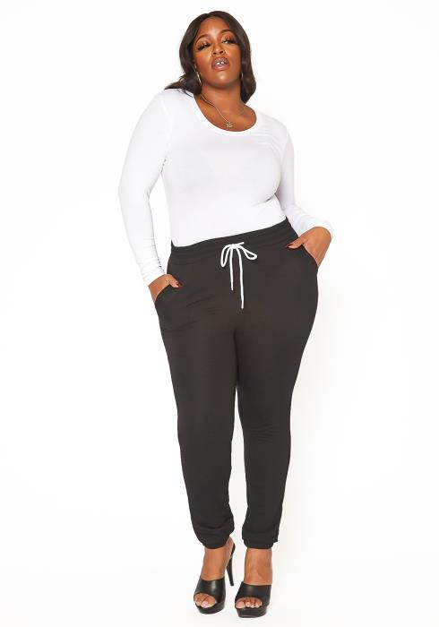 Asoph Plus Size Casual Drawstring Jogger Pants