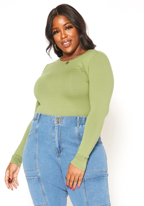 Asoph Plus Size Casual Long Sleeve Crew Neck Top