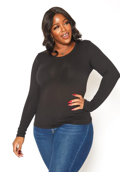Asoph Plus Size Basic Round Neck Long Sleeve Top
