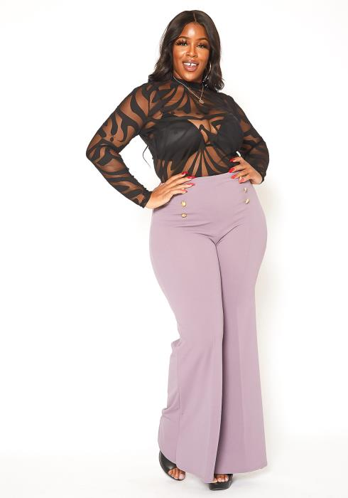 Asoph Plus Size Sailor Button Flare Pants