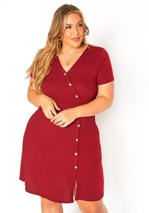 Asoph Plus Size Button Front V Neck Mini Dress