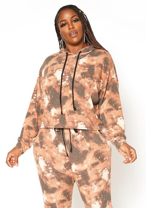 Asoph Plus Size Brown Tie Dye Hooded Sweater