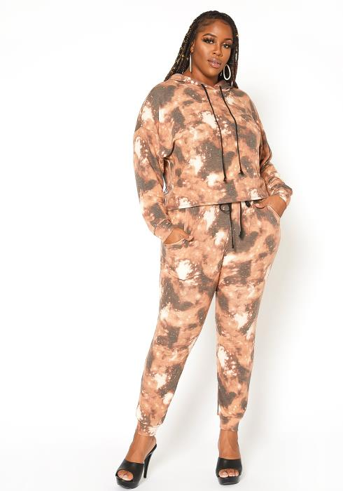 Asoph Plus Size Multi Print Daily Jogger Set