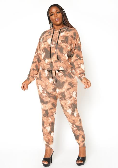 Asoph Plus Size Brown Tie Dye Jogger Pants
