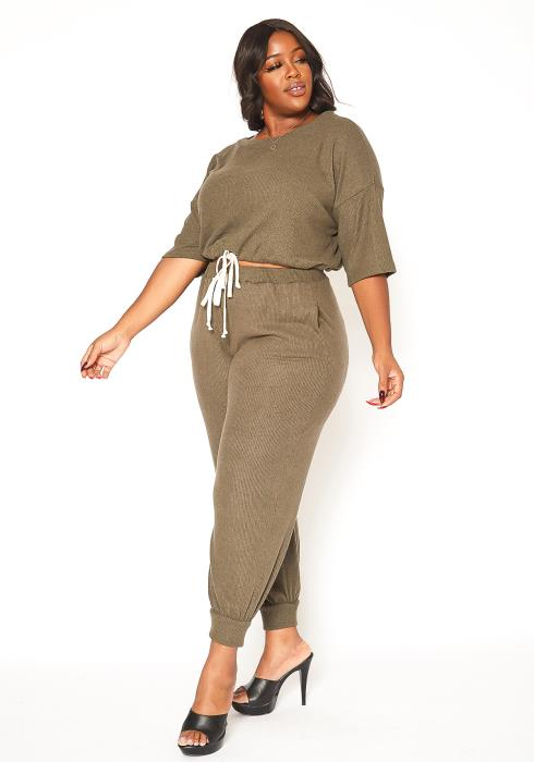 Asoph Plus Size Ribbed Knit Comfort Jogger Set