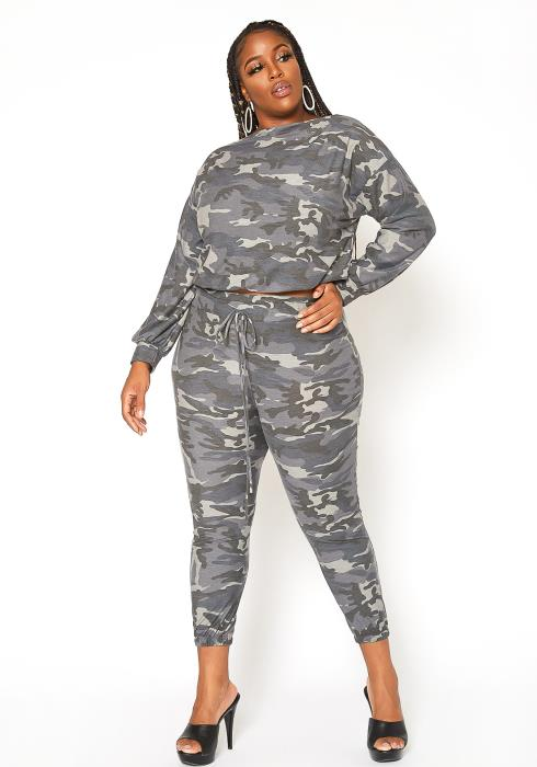 Asoph Plus Size Ash Camo Two Piece Set