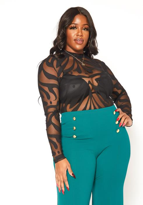 Asoph Plus Size Sexy Mesh Print Long Sleeve Bodysuit