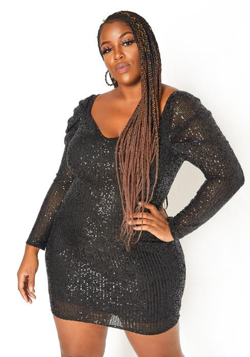 Asoph Plus Size Black Sequin Birthday Mini Dress