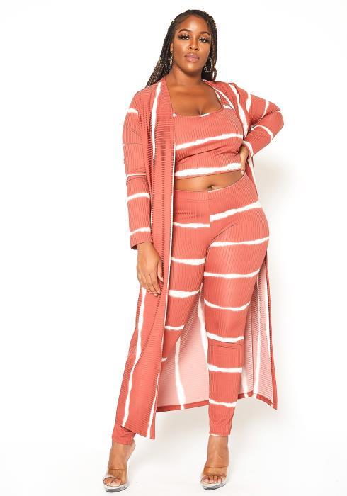 Asoph Plus Size Effortless Striped Three Piece Set