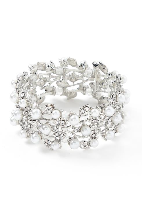 Jordyn Pearl Hinted Silver Bracelet Cuff