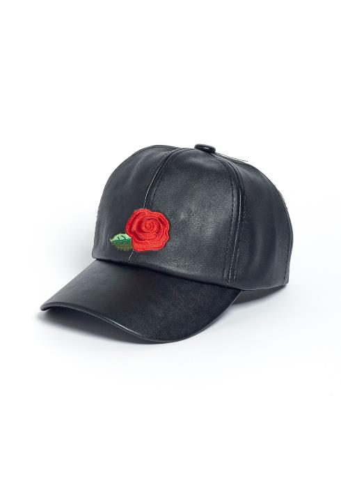 Stout Rose Embroidered Leather Baseball Cap