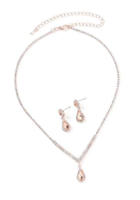 Asoph Caesars Palace Rose Gold Diamond Earring & Necklace Set