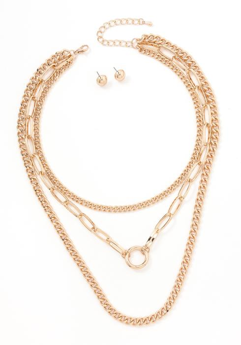 Hailey Triple Layer Gold Necklace & Earring Set