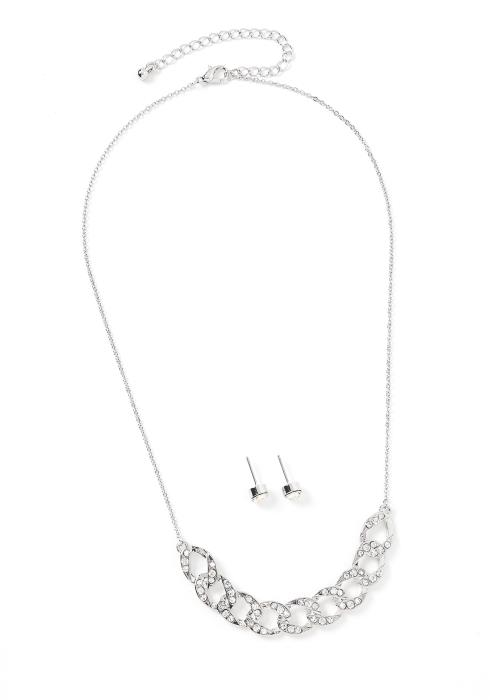 Sadie Silver Chain Link Necklace & Earring Set