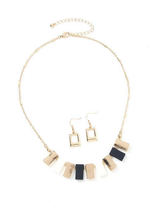 Pedley Rectangle Pendant Earring & Necklace Set