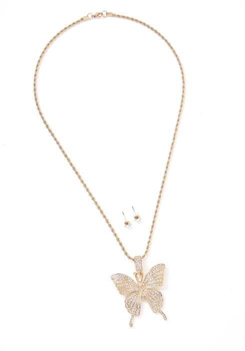 Ivor Crystal Butterfly Necklace & Earring Set