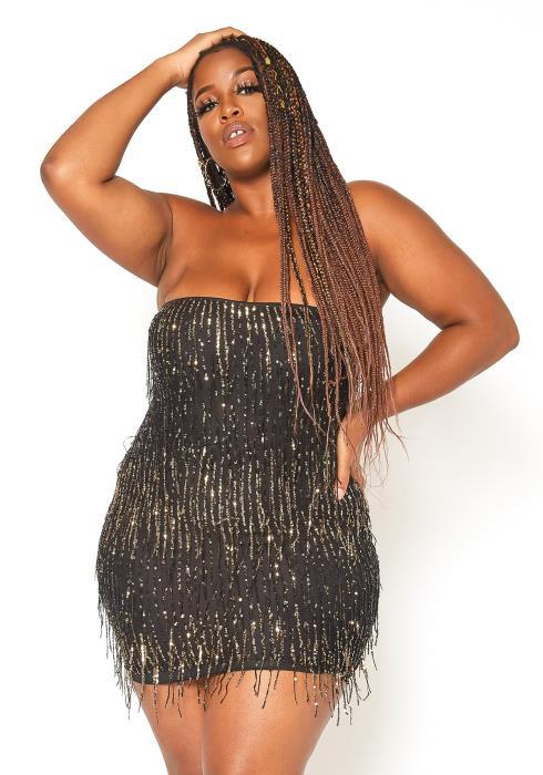Asoph Plus Size Dazzling Sequin Bodycon Mini Dress