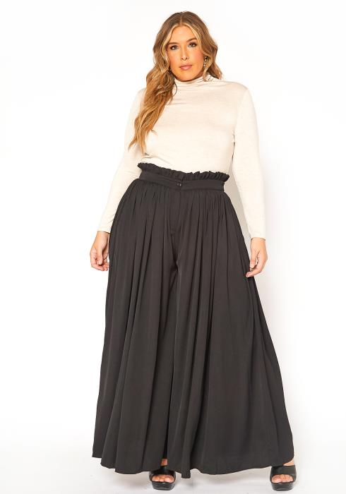 Asoph Plus Size Ruffle Trim Flowy Wide Leg Pants
