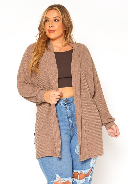 Asoph Plus Size Ribbed Knit Open Front Cardigan