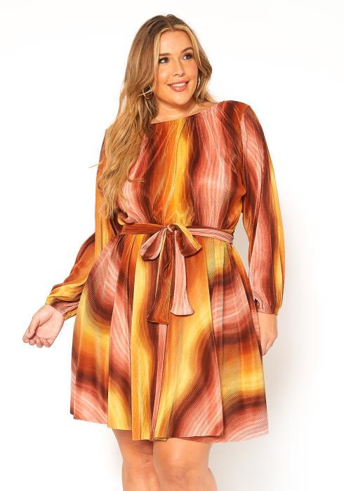 Asoph Plus Size Fit & Flare Pleated Mini Dress
