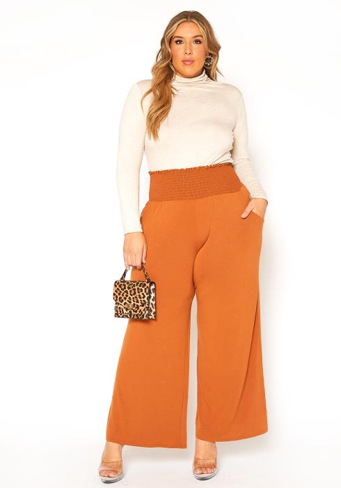 Asoph Plus Size Smocked Flare Leg Pants
