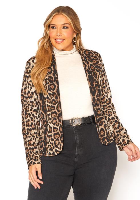 Asoph Plus Size Leopard Print Open Front Blazer