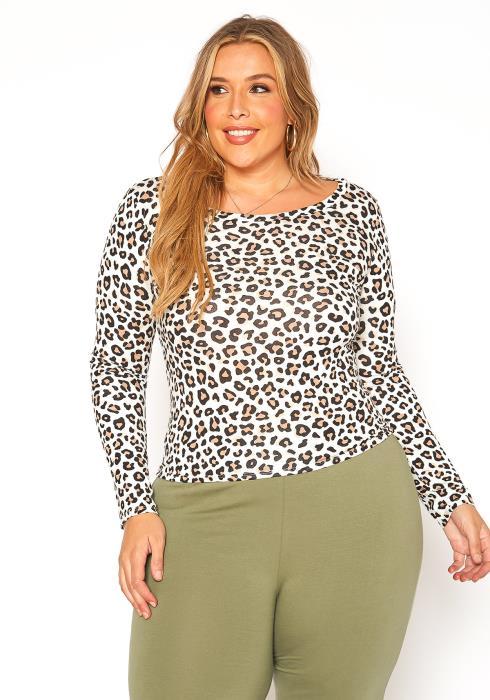 Asoph Plus Size Leopard Print Long Sleeve Top