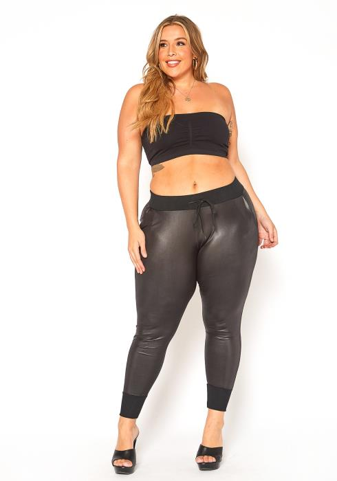 Asoph Plus Size PU Leather Jogger Pants