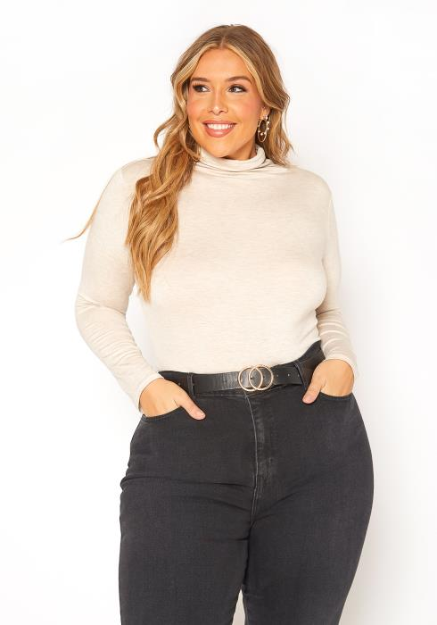 Asoph Plus Size Turtleneck Long Sleeve Fitted Top