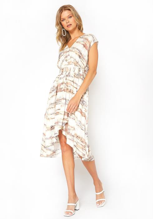 BTFL-life Asymmetric Overlay Print Midi Dress