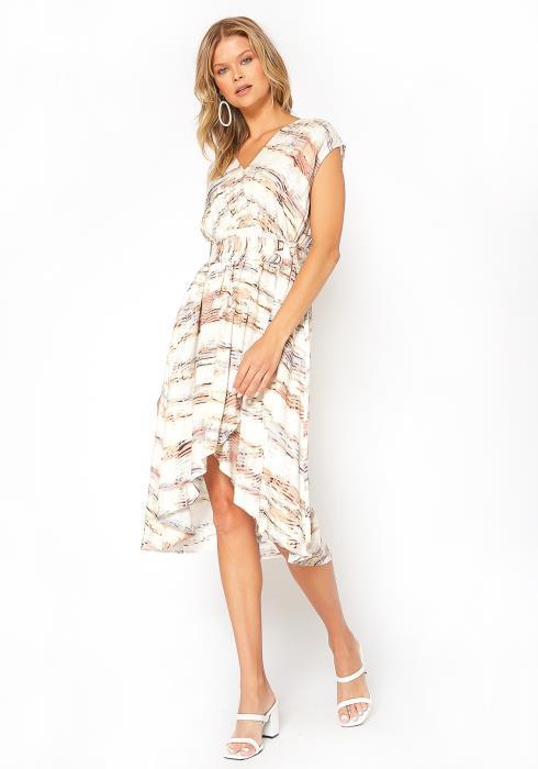 BTFL-life Asymmetric Overlay Print Midi Dress