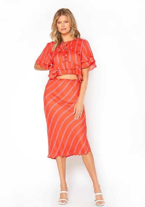 BTFL-life Stripe Pattern High Rise Midi Skirt